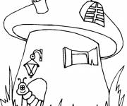 Coloring pages The worm in front of his house