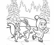 Coloring pages Masha and her friends in the forest