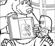Coloring pages Masha and Michka and witch image