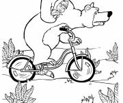 Coloring pages Masha and Michka on the bike
