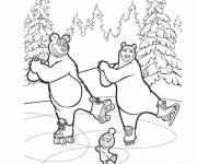 Coloring pages Masha and Michka on the ice