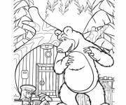 Coloring pages Masha and Michka online
