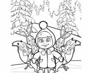 Coloring pages Masha and the hares
