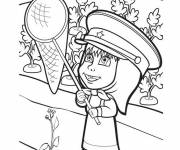 Coloring pages Masha having fun easy