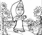 Coloring pages Masha in nature