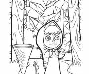 Coloring pages Masha is looking for the hare