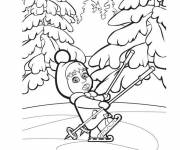 Coloring pages Masha playing on the ice