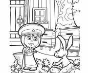 Coloring pages Masha plays with the hare