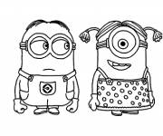 Coloring pages Minions in love