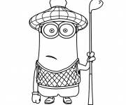 Coloring pages Minions Kevin plays golf