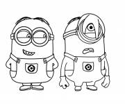 Coloring pages Minions Stuart and Kevin