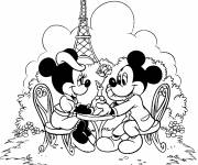 Coloring pages Mickey and Minnie have dinner in Paris
