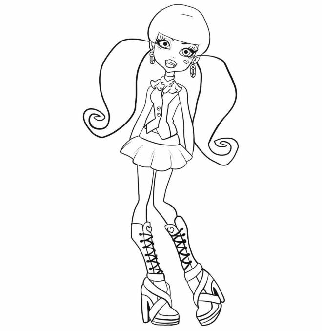 Free coloring and drawings Draculaura in color Coloring page
