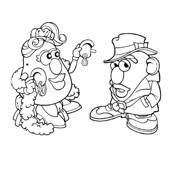 Free coloring and drawings The funny Mrs. Potato Coloring page