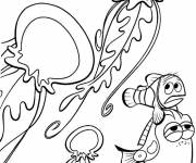 Coloring pages Dory and Marlin in the world of Dory