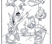 Coloring pages Nemo and his friends in the aquarium
