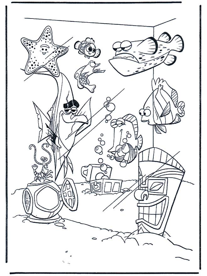 Free coloring and drawings Nemo and his friends in the aquarium Coloring page