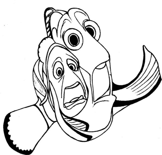 Free coloring and drawings Nemo and Marlin in the world of Dory Coloring page