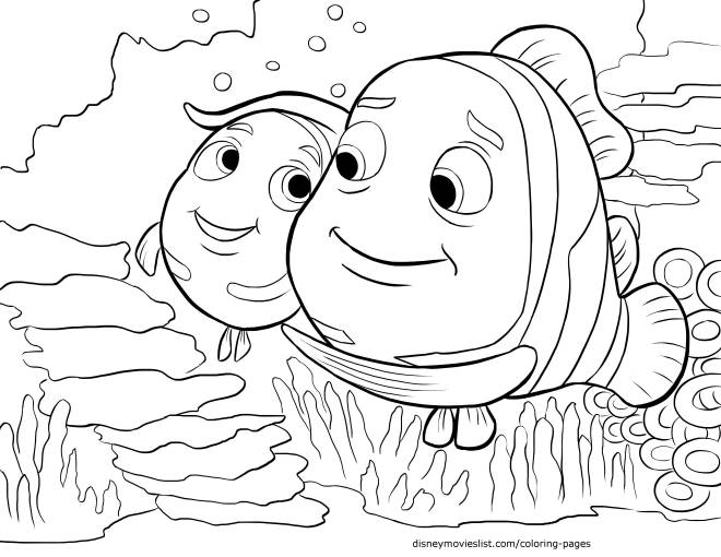 Free coloring and drawings Nemo loves his father Coloring page