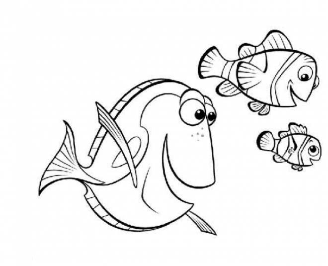 Free coloring and drawings Nemo, Marlin and Dory Coloring page
