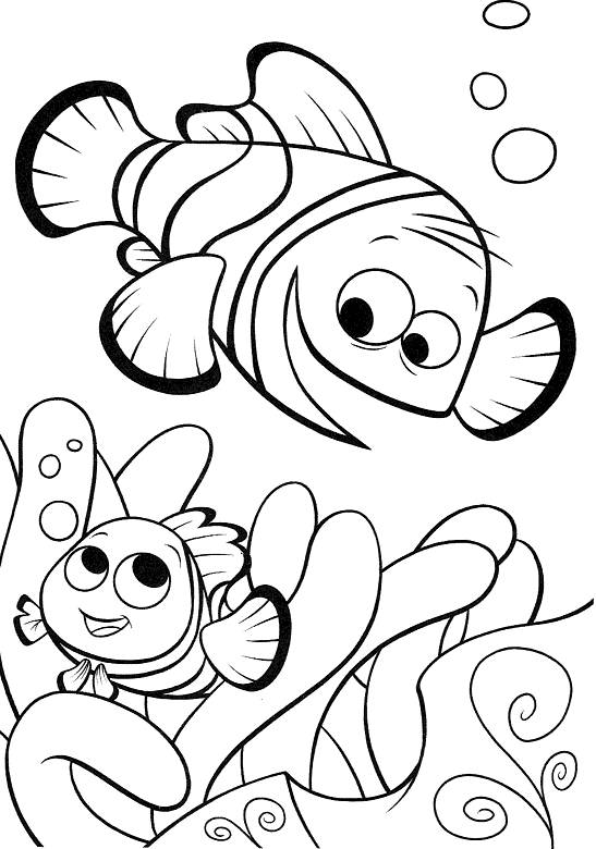 Free coloring and drawings Nemo plays with his father Coloring page