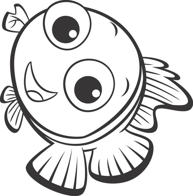 Free coloring and drawings Nemo smiling Coloring page