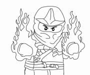 Coloring pages Ninjago Kai in fire