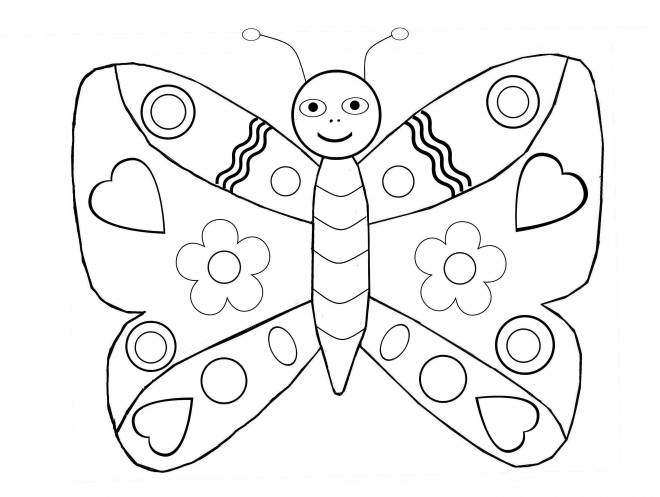 Free coloring and drawings A butterfly on computer Coloring page