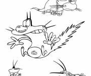 Free coloring and drawings Oggy and the cockroaches characters Coloring page