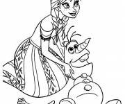 Coloring pages Olaf and Anna