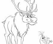 Coloring pages Olaf and Sven