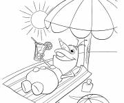 Coloring pages Olaf at the beach