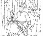 Coloring pages Olaf, Sven and Anna