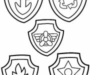 Coloring pages Paw Patrol and their medals