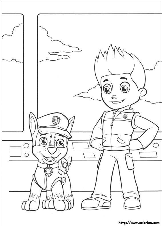 Free coloring and drawings Paw Patrol Ryder and Chase Coloring page