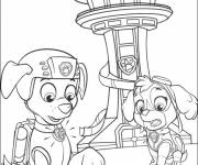 Coloring pages Paw Patrol Zuma, Stella and the control tower