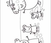 Coloring pages Funny family Peppa Pig