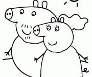 Coloring pages Peppa Pig in the nature