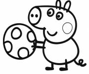 Coloring pages Peppa Pig plays Ball