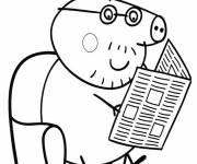 Coloring pages Peppa Pig read the newspaper
