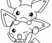 Coloring pages Pokemon Pikachu looks angry