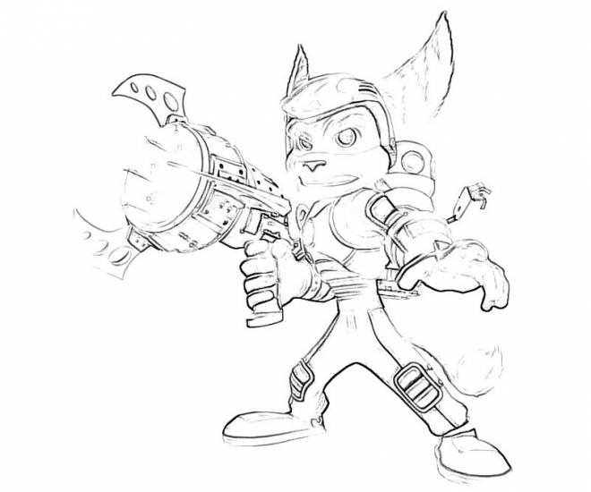 Free coloring and drawings Brave Ratchet and Clank  Coloring page