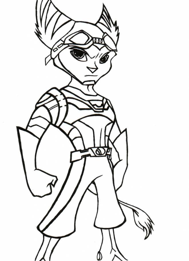 Free coloring and drawings Ratchet and Clank attacking Coloring page
