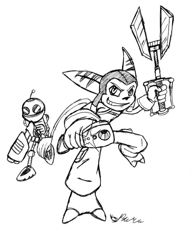 Free coloring and drawings Ratchet and Clank cartoon for kids Coloring page