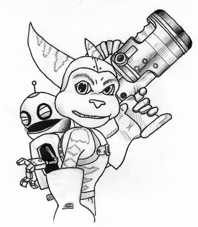 Free coloring and drawings Ratchet and Clank in color Coloring page