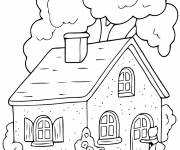 Coloring pages Red Riding Hood and her grandmother's house