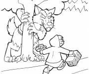 Coloring pages Red Riding Hood and the wolf