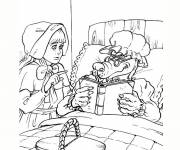 Coloring pages Red Riding Hood and the wolf online