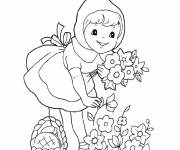 Coloring pages Red Riding Hood collecting flowers