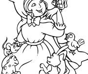 Coloring pages Red Riding Hood has fun with animals